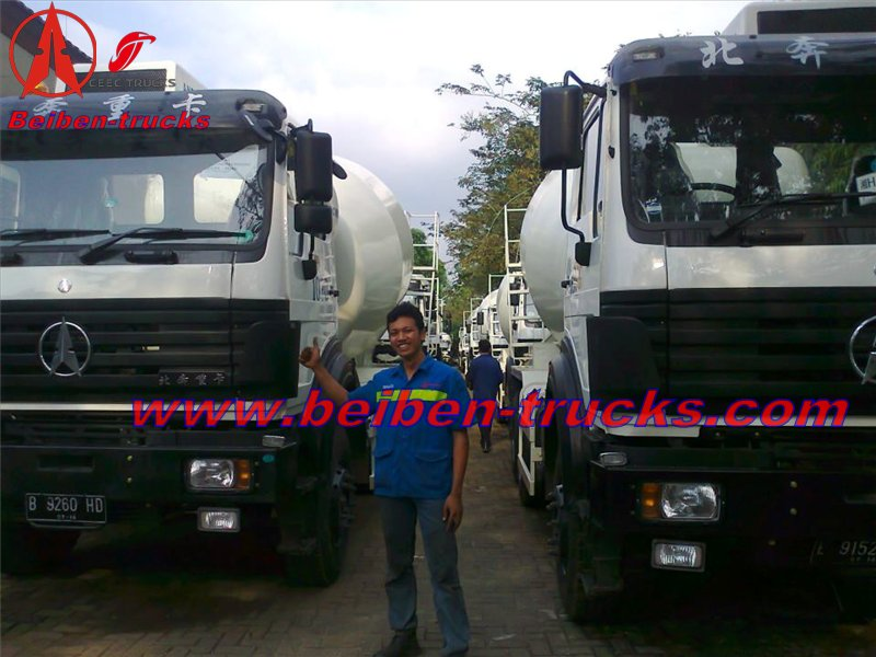 Indonesia customer order 25 unit beiben RHD 2534 concrete mixer truck and dump truck